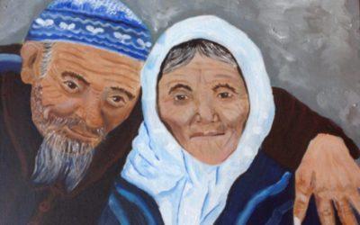 זוג עם כיפה – ציור של רחל טוקר שיינס