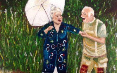 עם מטריה – ציור של רחל טוקר שיינס