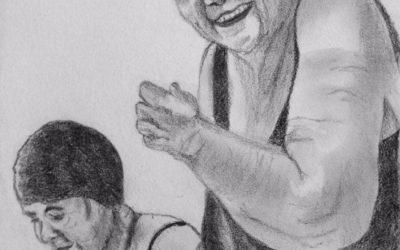 קשישה בבריכה – ציור של רחל טוקר שיינס