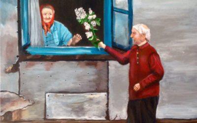 פרחים לשבת – ציור של רחל טוקר שיינס