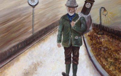 זקן עם שעון – ציור של רחל טוקר שיינס