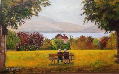 זקנים על ספסל – ציור של רחל טוקר שיינס