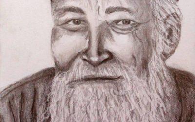 קשיש עם קסקט – ציור של רחל טוקר שיינס