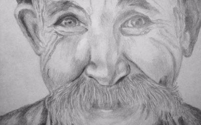 קשיש עם שפם – ציור של רחל טוקר שיינס